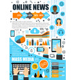 online news and mass media infographics vector image