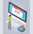 online store concept male buyer selects a product vector image vector image