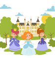princess girls in evening gowns banner vector image vector image