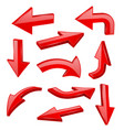 red bold arrows 3d shiny signs vector image vector image