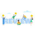 review concept people characters holding stars vector image vector image
