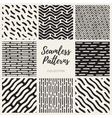 Seamless Black and White Hand Drawn Lines vector image vector image