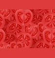 seamless pattern with tomatoes in a cut flat color vector image vector image