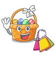shopping easter basket isolated in the character vector image