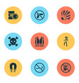 sign icons set with poison keep door closed vector image