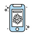 smartphone with covid19 virus particle line vector image vector image