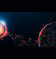 space scene with planets meteorite and galaxies vector image
