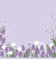 spring flowers colorful card willow branches vector image vector image