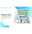 travel vlog website landing page design vector image vector image
