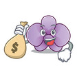 with money bag orchid flower character cartoon vector image vector image