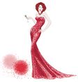 Woman in red shiny dress vector image vector image