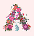 Cute letter A Floral monogram A with vintage vector image