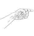 Finger pointing hand detailed black and white vector image