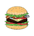 a piece of yummy hamburger vintage look hand draw vector image vector image