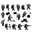 astronaut or spaceman character set stick figure vector image
