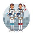 astronauts couple cartoon vector image