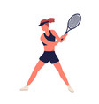 athletic woman in sports apparel demonstrate vector image vector image