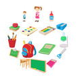 back to school icons set cartoon style vector image