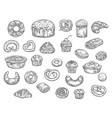 bakery shop bread and dessert cakes sketch vector image vector image