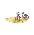 bicycle vehicle with map guide isolated icon vector image vector image