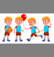 boy kindergarten kid poses set little vector image
