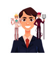 business man with angel and devils decision vector image vector image