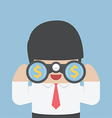 Businessman looking through binoculars vector image
