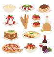 cartoon italy food cuisine delicious homemade vector image vector image
