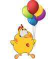 Chicken and toy balloons vector image vector image