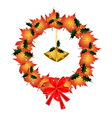 Christmas Wreath of Orange Maple with Golden Bells vector image vector image