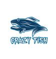 crazy fish cartoon mascot design template vector image vector image