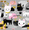 cute cats seamless pattern childish background vector image vector image