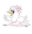 Cute hand drawn crow - ballerina Cartoon concept vector image