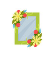 cute photo frame with flowers album template for vector image vector image