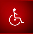 disabled handicap icon isolated on red background vector image vector image