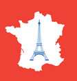eiffel tower and map on red vector image vector image