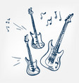 electric guitar set sketch isolated vector image