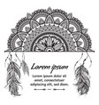 ethnic boho template with black and white mandala vector image