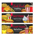fast food lunch meal with drinks chalkboard banner vector image vector image