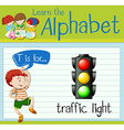 Flashcard alphabet T is for traffic light vector image vector image