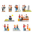 flat set of tourists with suitcases maps vector image
