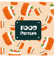 food pattern shrimp sushi background image vector image