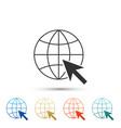 go to web icon globe and cursor website pictogram vector image vector image