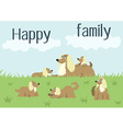 Happy family card with dog and puppies vector image vector image