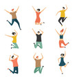 happy people jumping celebrate jubilation jump vector image