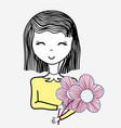 happy woman with flowers icon vector image vector image