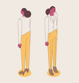 isometric full color outline standing woman in vector image vector image