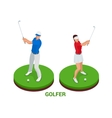 Isometric golfer Sport design elements vector image
