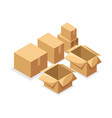 isometry a set of cardboard boxes of various shape vector image