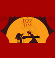 jazz day card of woman singer and piano player vector image vector image